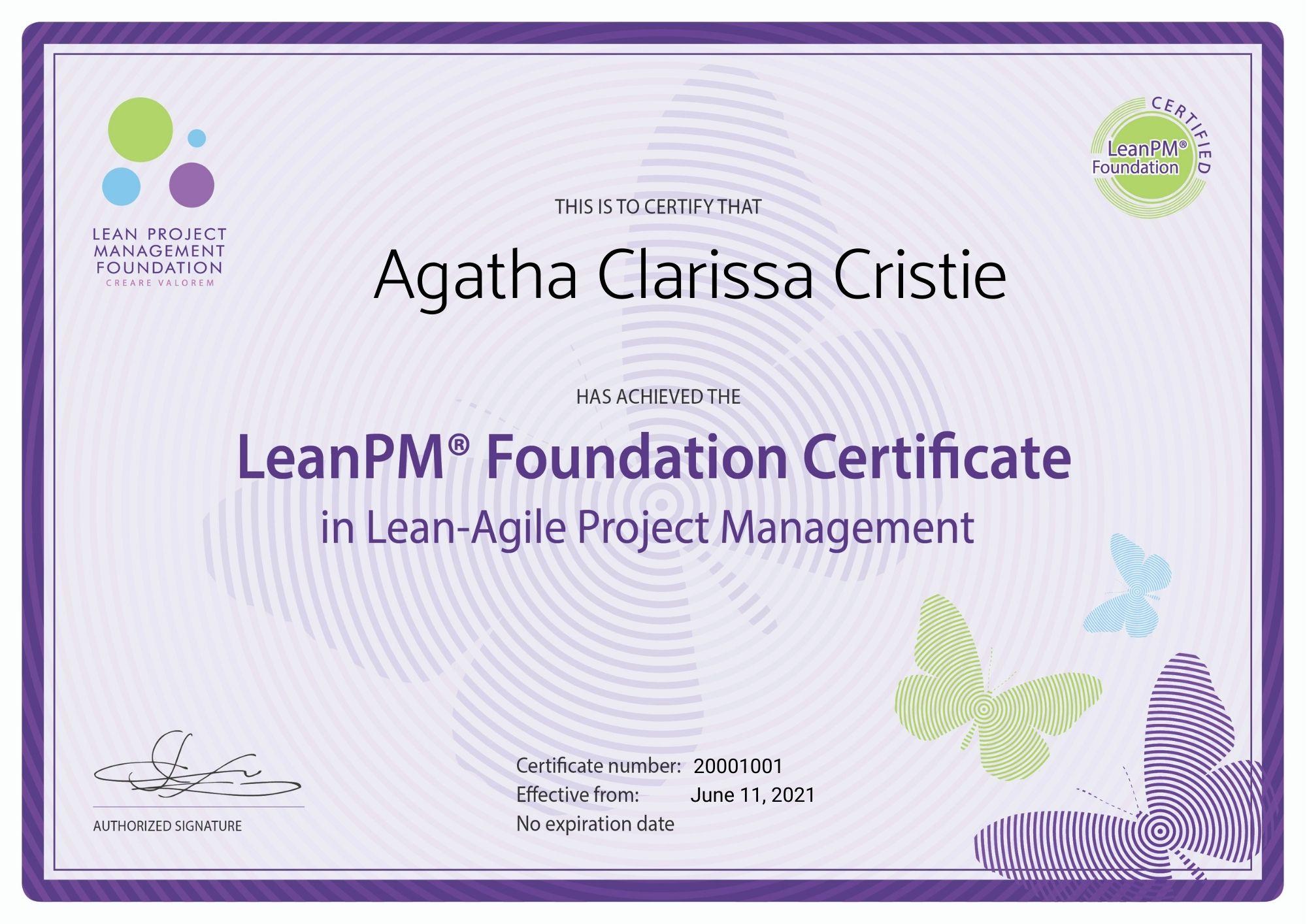 LeanPM Foundation Certificate